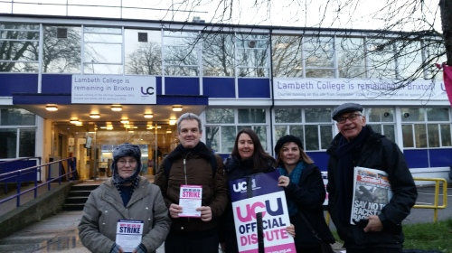 Sally Hunt - UCU General Secretary showing support on the picket line